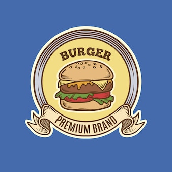 Logotipo do hamburguer do vintage