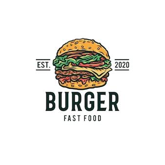 Logotipo do hamburguer, mão desenhada