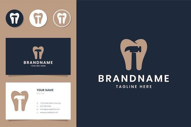 Logotipo do hammer dental negativo