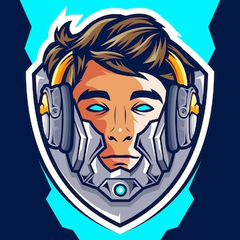 Logotipo do head cyborg gamer esport