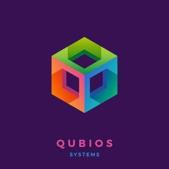 Logotipo do hexágono colorido.