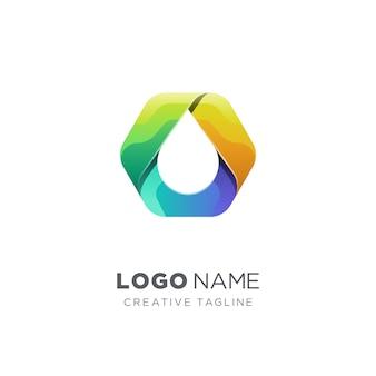 Logotipo do hexágono colorido