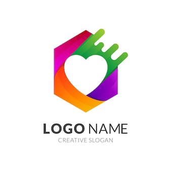 Logotipo do hexágono com coração / amor dentro