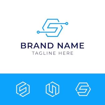 Logotipo do hexágono da letra inicial