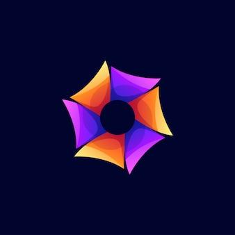 Logotipo do hexágono de cor moderna abstrata