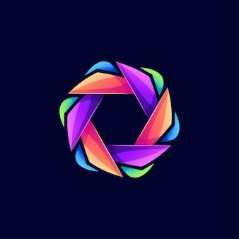 Logotipo do hexágono de cor moderna