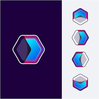 Logotipo do hexágono de direção abstrata