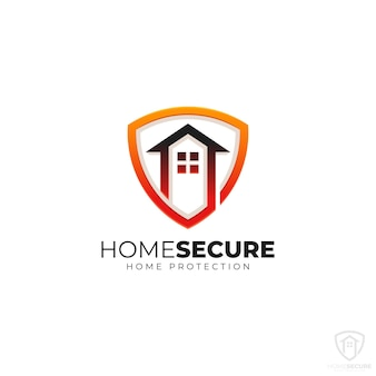 Logotipo do home security com conceito home shield