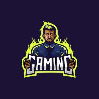 Logotipo do homem assustador para a equipe de jogos