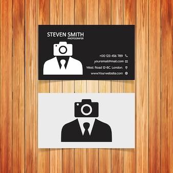 Logotipo do homem da câmera cartão de visita corporativo mínimo com cor branca e preta