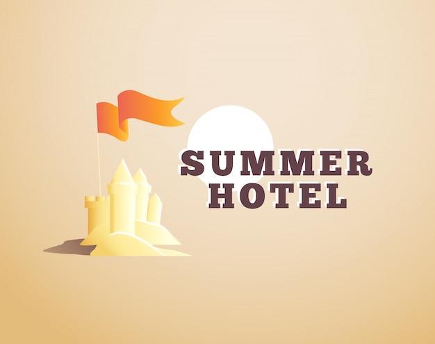 Logotipo do hotel de verão. ilustração.