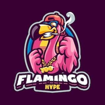 Logotipo do hype flamingo mascot para equipes esportivas e esportivas