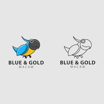 Logotipo do ícone azul e ouro arara pássaro com círculo