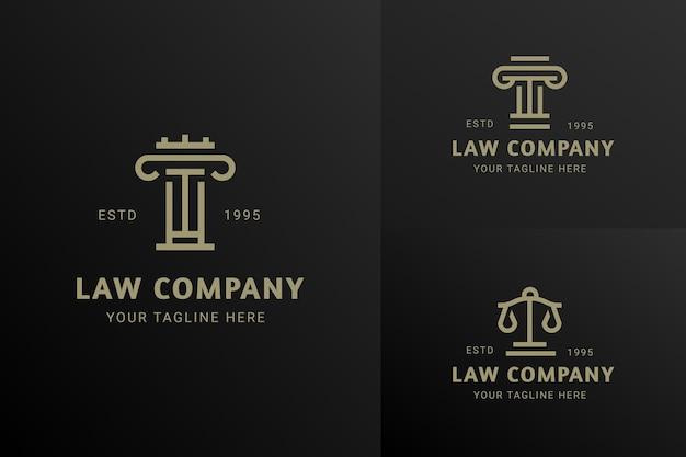 Logotipo do ícone da empresa law justice estilo moderno luxuoso conceito de vetor do emblema conjunto de modelos de design
