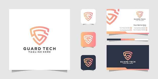 Logotipo do ícone de escudo. símbolo de segurança cibernética. design de logotipo e cartão de visita