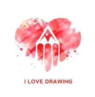 Logotipo do ícone de lápis de coração de grunge de amante de desenho criativo.