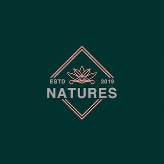 Logotipo do ícone de lótus no crachá