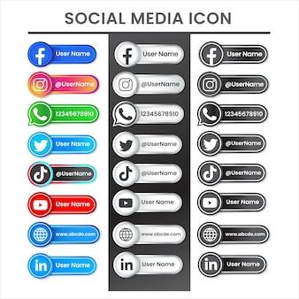 Logotipo do ícone de mídia social tema moderno colorido em preto prateado Vetor Premium
