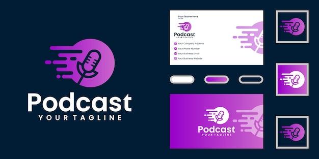 Logotipo do ícone de podcast e taxa de dados de design e cartão de visita