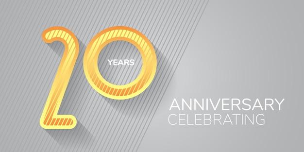 Logotipo do ícone do aniversário de 20 anos