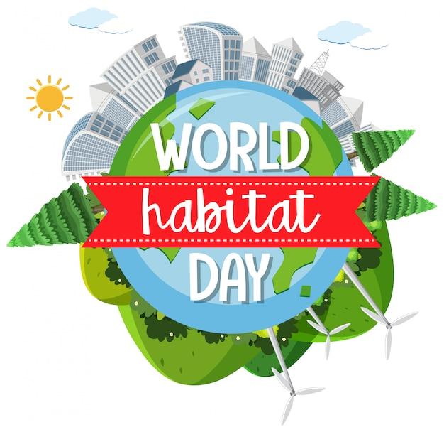 Logotipo do ícone do dia mundial do habitat com vilas ou cidades no globo
