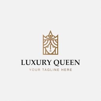 Logotipo do ícone minimalista da rainha de luxo