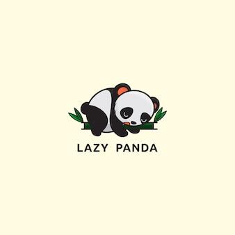 Logotipo do ícone, simples ilustração de panda preguiçoso no bambu