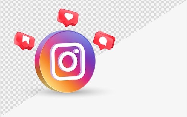 Logotipo do instagram 3d moderno com ícones de notificação de mídia social, como comentário salvo em balão de fala