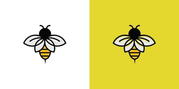 Logotipo do isótipo de abelha de arte em linha
