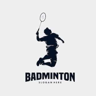 Logotipo do jogador de badminton apaixonado e moderno em ação Vetor Premium