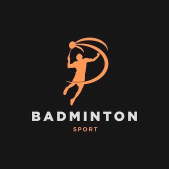 Logotipo do jogador de badminton jump, cor da silhueta laranja em fundo preto logotipo do badminton