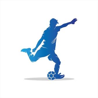 Logotipo do jogador de futebol em ação Vetor Premium