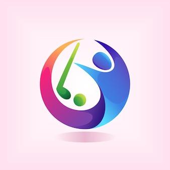 Logotipo do jogador de golfe com conceito de cor gradiente