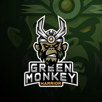 Logotipo do jogo de cabeça de macaco esport