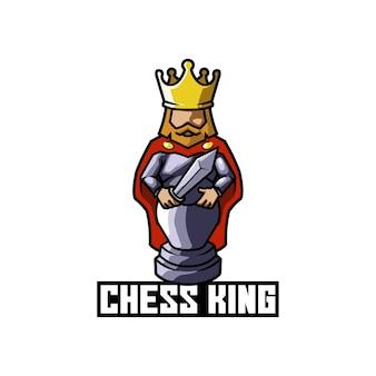 Logotipo do jogo de estratégia de peça do rei do xadrez