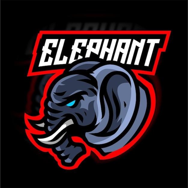 Logotipo do jogo do mascote da cabeça do elefante