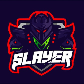 Logotipo do jogo do mascote do cavaleiro do slayer