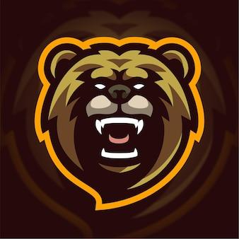 Logotipo do jogo do mascote do urso irritado