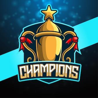 Logotipo do jogo do mascote troféu do campeão