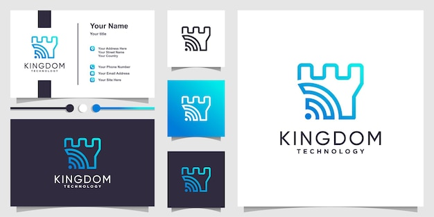 Logotipo do kingdom com conceito de tecnologia inteligente e design de cartão de visita