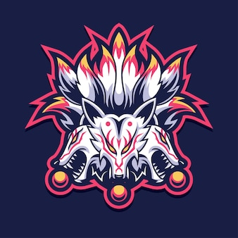 Logotipo do kitsune fox para jogos