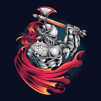 Logotipo do knight warrior as esports gamer