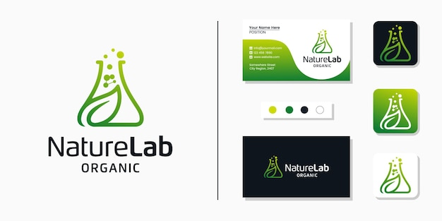 Logotipo do laboratório de folhas naturais e modelo de design de cartão de visita