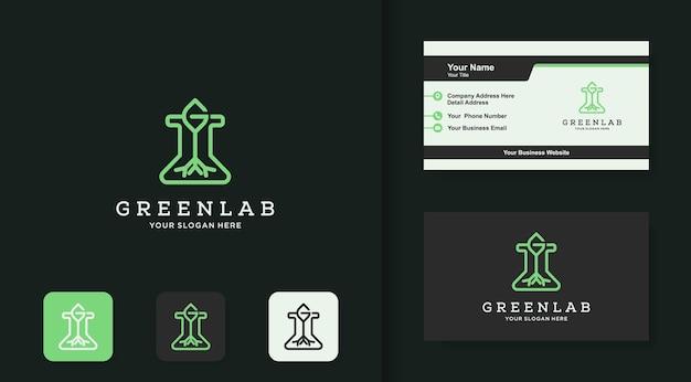 Logotipo do laboratório natural, vidro da árvore e cartão de visita