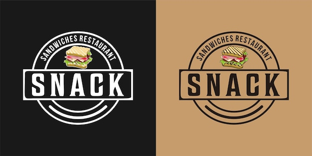 Logotipo do lanche, sanduíche com presunto, queijo, tomate, alface e pão torrado
