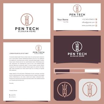 Logotipo do lápis da tecnologia premium vector e cartão de visita