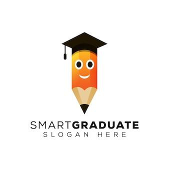 Logotipo do lápis inteligente, modelo de design de logotipo de educação criativa