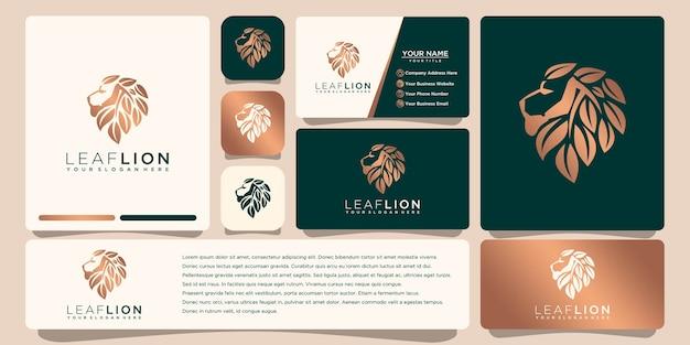 Logotipo do leão com modelo de cartão de visita