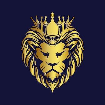 Logotipo do leão de ouro da coroa mascote premium da empresa