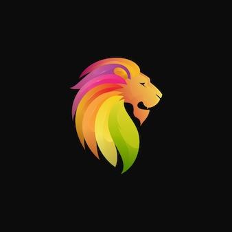 Logotipo do leão gradiente colorido moderno